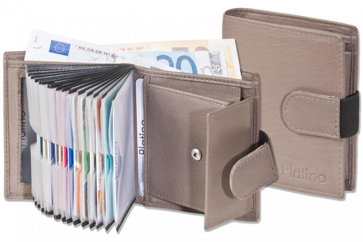 Platino - Supermoderne Geldbörse mit 18 Klarsicht-Kreditkartentaschen und aus sehr hochwertigem, naturbelassenem Rindsleder in Braun/Grau Taupe