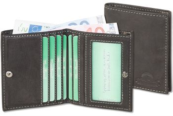 Woodland® Superflache Minibörse mit dem Protecto® RFID/NFC-Blocker Schutz  aus bestem Büffelleder in Anthrazit
