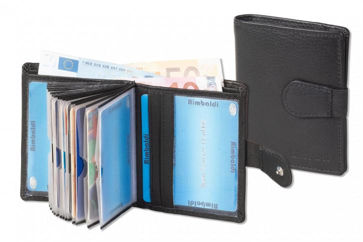 Kompakte Geldbörse mit RFID/NFC Blocker und Platz für bis zu 18 Kreditkarten aus weichem Rind-Nappaleder in Schwarz