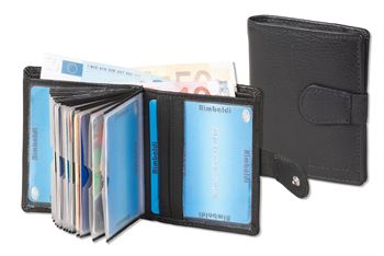 Super-Kompakte Geldbörse mit RFID/NFC Blocker und Platz für bis zu 18 Kreditkarten aus weichem Rind-Nappaleder in Schwarz