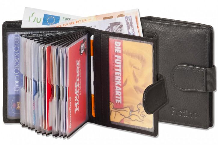 Platino - Super-Kompakte Geldbörse mit XXL-Kreditkartentaschen für 16 Karten aus naturbelassenem Rindsleder in Schwarz