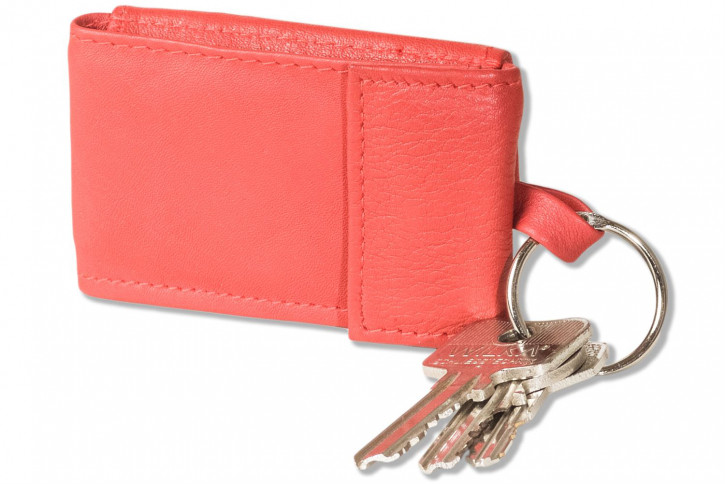 """""""Premium"""" Micro-wallrt in horizontal format with key ring made from soft, untreated calf leather in"""