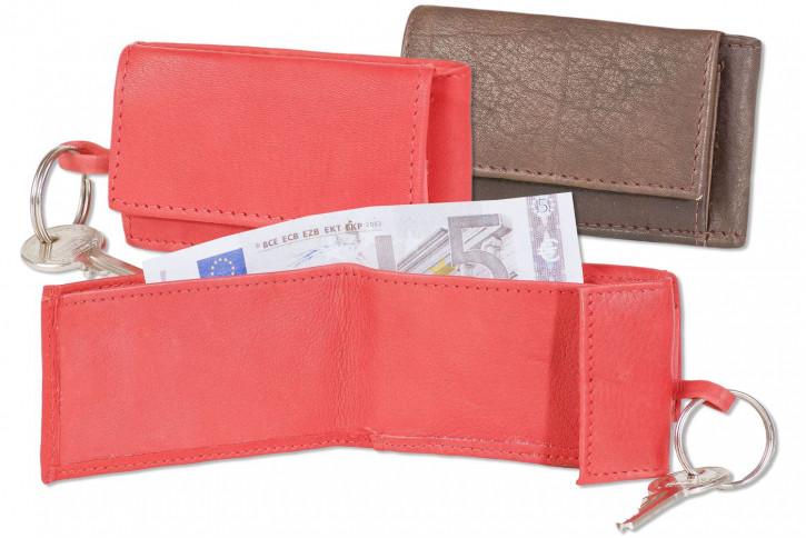 Rimbaldi® Micro-Geldbörse im Querformat mit Schlüsselring aus weichem, naturbelassenem Kalbsleder