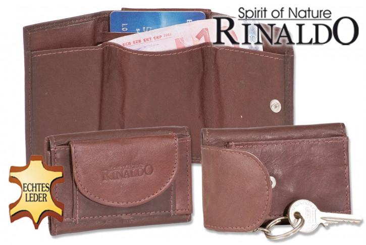 Rinaldo® Mini Geldbörse mit Geldscheintaschen + Schlüsseltasche mit Kette und Schlüsselring aus glattem, naturbelassenem Rindsleder in Dunkelbraun