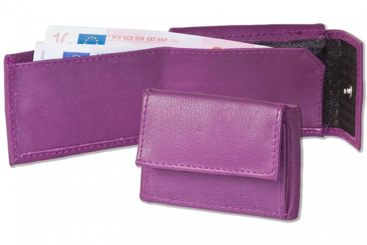 Rinaldo® Micro-Ledergeldbörse aus Rind-Nappaleder in Aubergine