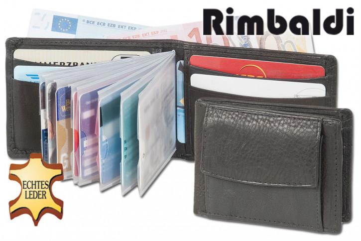 Rimbaldi® Kleine Geldbörse mit Platz für 12 Kreditkarten und Hartgeld aus Rind Nappa-Leded in Schwsarz