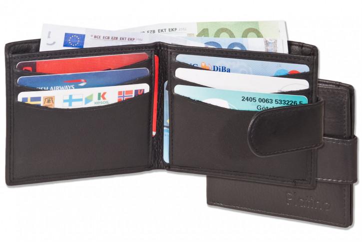 Platino - Superflache Geldbörse mit Außen-Hartgeldfach aus allerbesten, naturbelassenem Rindsleder in Schwarz
