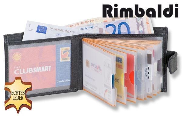 Rinaldo® Super-Kompakte Minibörse mit vielen Kreditkartenfächern und Außen-Kleingeldfach aus weichem, naturbelassenem Rindsleder in Schwarz