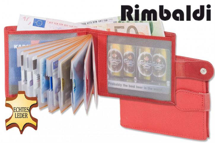 Rimbaldi® Super-Kompakte Minibörse mit Außen-Kleingeldfach aus naturbelassenem, weichem Rindsleder in Rot