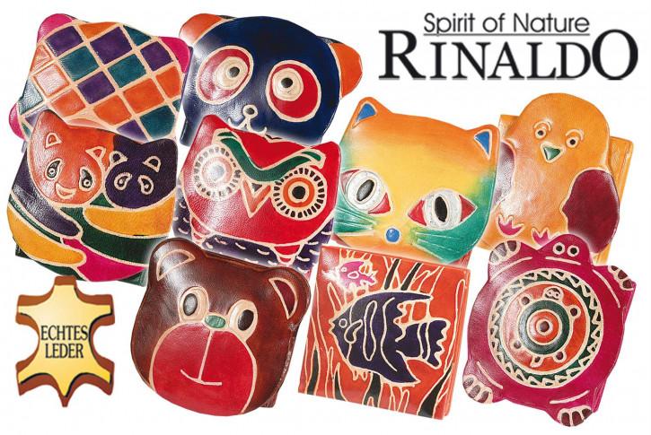 Handbemalte Kinder-Faltbörsen aus Leder mit 10 verschiedenen Motiven aus echtem Ziegenleder (Sortierung 1)