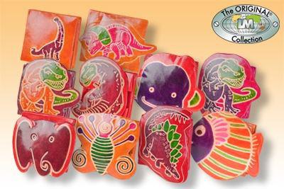 Handbemalte Kinder-Faltbörsen aus Leder mit 10 verschiedenen Motiven aus echtem Ziegenleder (Sortierung 3)