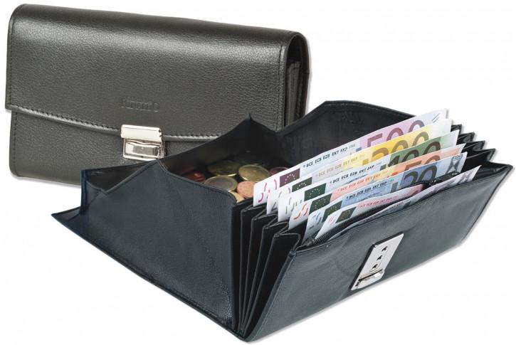 Rinaldo® Preiswerte Kellnerbörse mit verstärktem Boden im großem Hartgeldfach aus glattem Rindsleder in Schwarz