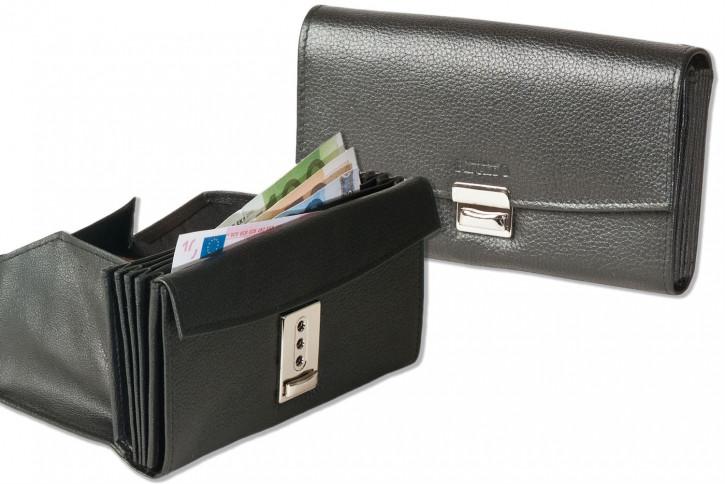 Rinaldo® Profi Kellnerbörse mit speziell verstärktem Hartgeldfach aus glattem Rindsleder in Schwarz