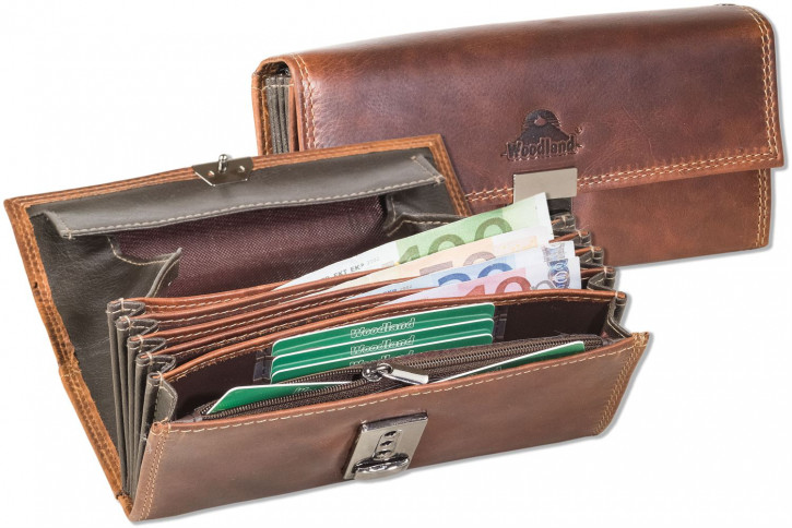 Woodland® Profi Kellnerbörse mit speziell verstärktem Hartgeldfach aus hochwertigem Rindsleder in Cognac