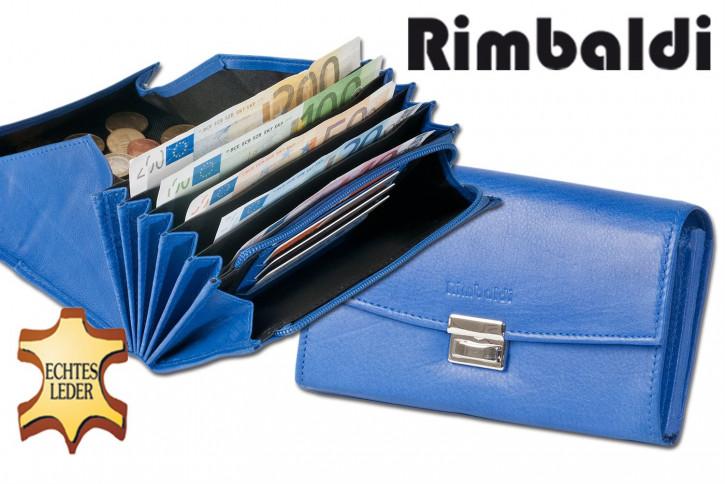 Rimbaldi® Profi-Kellnerbörse mit extra verstärktem Hartgeldfach aus weichem, naturbelassenem Rindsleder in Royalblau