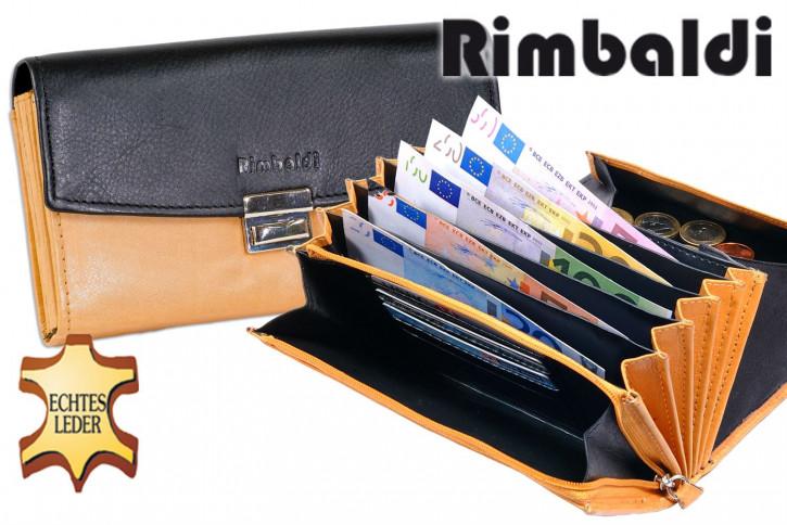 Rimbaldi® Profi Kellnerbörse mit extra verstärktem großen Hartgeldfach aus weichem, naturbelassenem Rindsleder in Schwarz/Natur Kombination