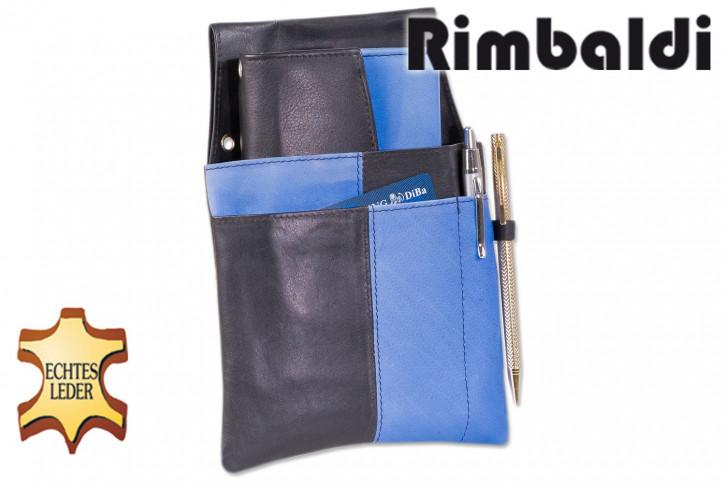 Rimbaldi® Design Kellnerbörse komplett mit Holster aus weichem, naturbelassenem Rindsleder in Schwarz/Royalblau-Kombination