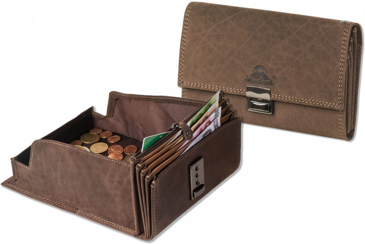 Woodland® Profi-Kellnerbörse mit extra verstärktem Hartgeldfach aus weichem, naturbelassenem Büffelleder in Dunkelbraun