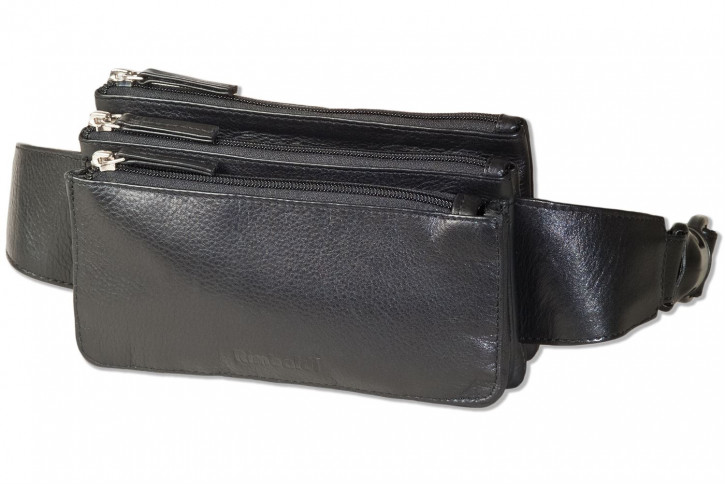 Rimbaldi® - Flache Bauchtasche mit zwei Vortaschen aus feinem Rind-Nappaleder in Schwarz