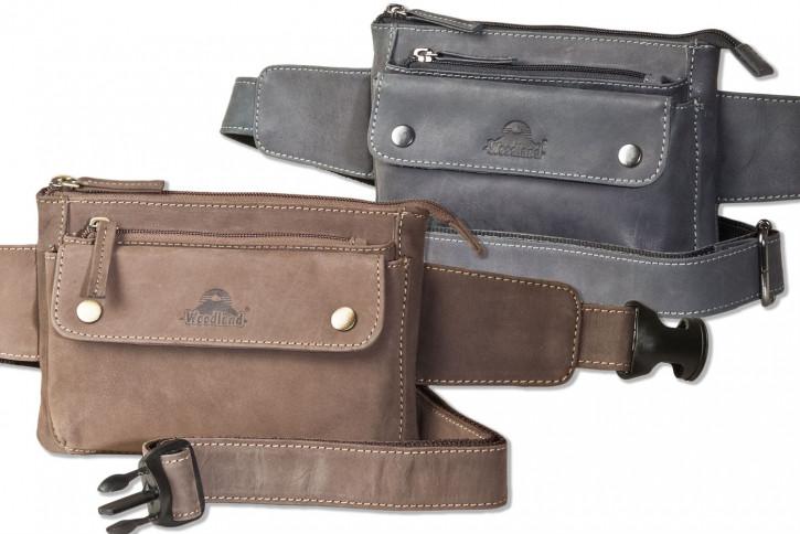 Woodland - Flache Bauchtasche mit Vortasche für ein großes Smartphone aus naturbelassenem Büffelleder von Woodland®