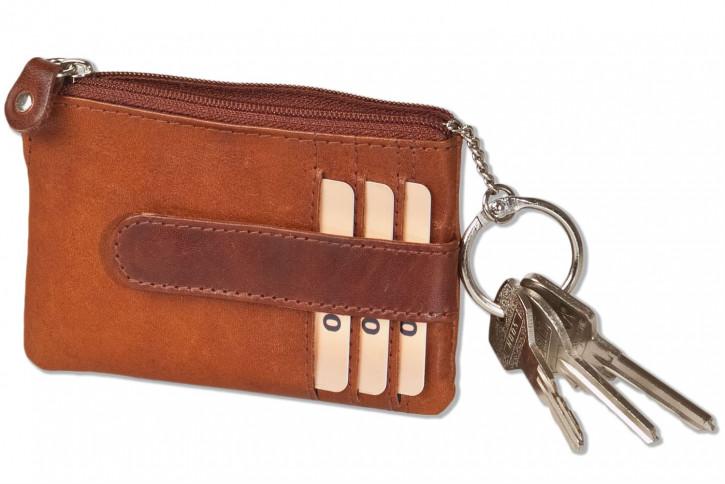 Woodstone® Schlüsseltasche mit 3 Kreditkartenfächern und kleinem Münzfach aus OIL PULL-UP Büffelleder in Cognac