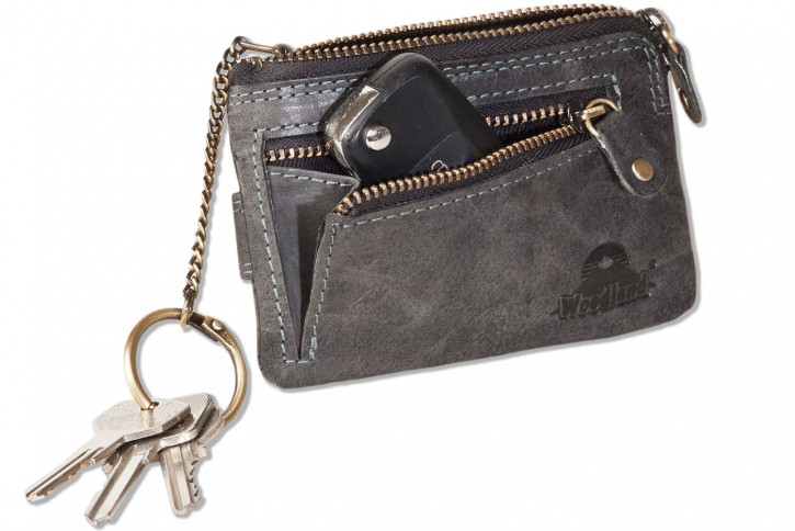 Woodland® Schlüsseltasche mit Kreditkartenfächern und kleinem Geldfach aus weichem, naturbelassenem Büffelleder in Anthrazit