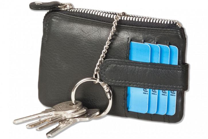 Rimbaldi® Plus - Schlüsseltasche mit 4 Kreditkartenfächern und kleinem Geldfach aus weichem, besonders hochwertigem Rindsleder in Schwarz