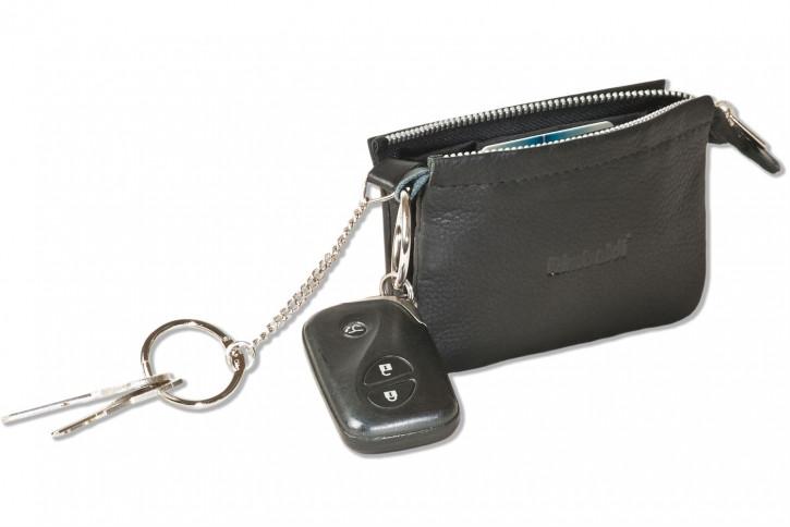 Rimbaldi® Doppel-Schlüsseltasche für den Autoschlüssel und normale Schlüssel in besonders hochwertigem Rindsleder in Schwarz