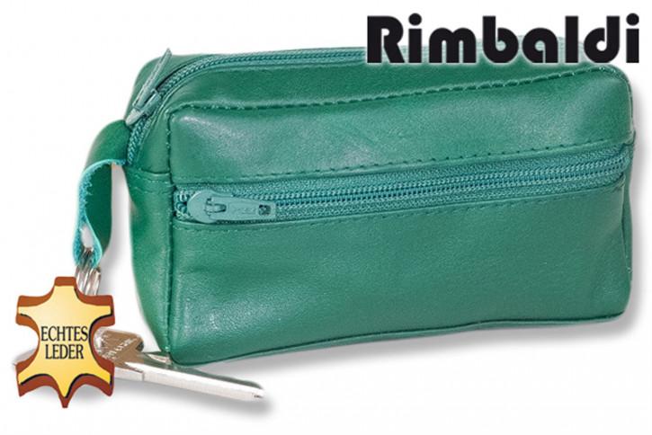 Rinaldo® Große Schlüsseltasche mit Extrafach und Schnellwechsel-Sicherheitsring aus weichem, naturbelassenem Rindsleder in Grün