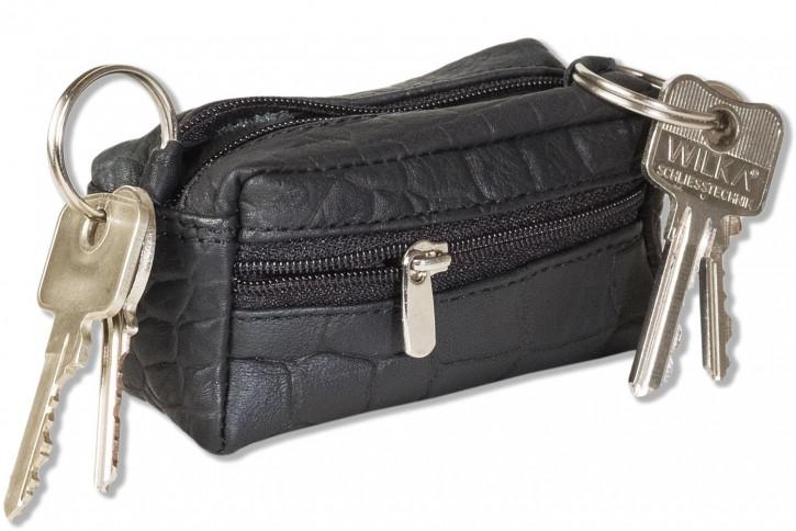 Rimbaldi® Große Schlüsseltasche mit 2 Schlüsselketten und Extrafach aus weichem Rindsleder mit Krokoprägung in Schwarz