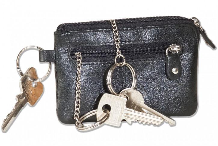 Rinaldo® Leder-Schlüsseltasche mit Schlüsselkette und Ring und zusätzlichem Außenring aus Rind-Nappaleder in Schwarz
