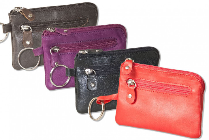 Rinaldo® Leather key pocket with key chain, ring and additional outer ring made of soft, natural cow leather