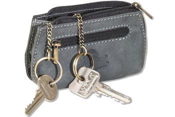 Woodland® Schlüsseltasche, erweiterbar für mehrere Schlüssel aus naturbelassenem Büffelleder in Anthrazit