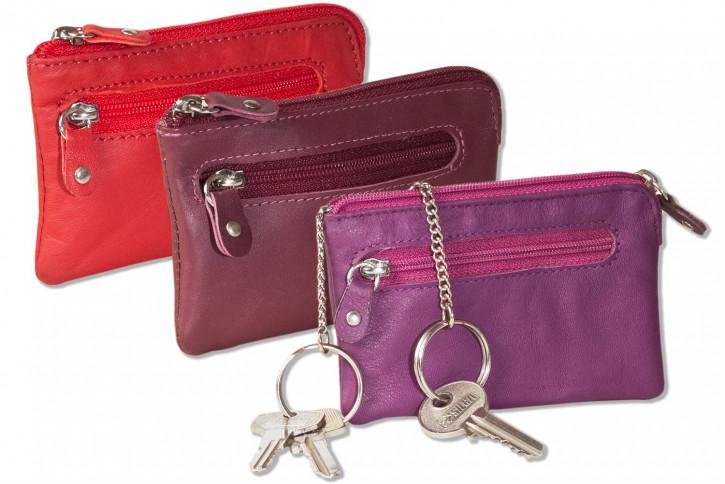 Rinaldo® Leder-Schlüsseltasche mit 2 Schlüsselketten und Extratasche aus Rind-Nappaleder