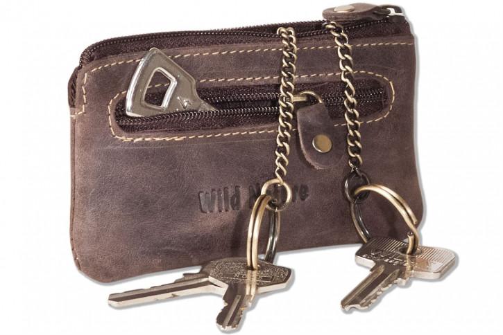 Wild Nature® Leder-Schlüsseltasche mit 2 Schlüsselketten aus weichem, naturbelassenem Büffelleder in Dunkelbraun/Vintage-Look