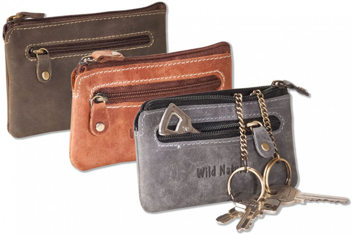 Wild Nature® Leather key bag with 2 key chains made of soft, natural buffalo leather