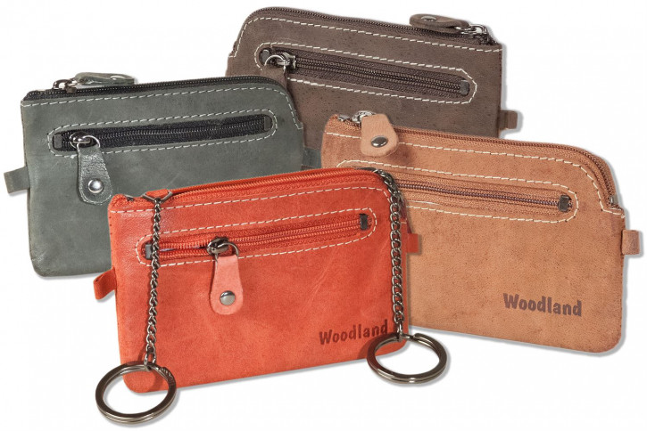 Woodland® - Leather key bag with 2 key chains made of soft, natural buffalo leather