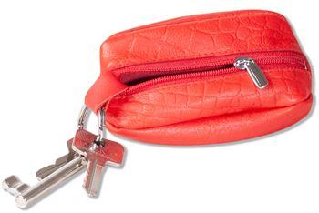 Rimbaldi -  Leder-Schlüsseltasche mit Mittel-Reißverschluss aus weichem Rindsleder in Rot/Krokoprägung