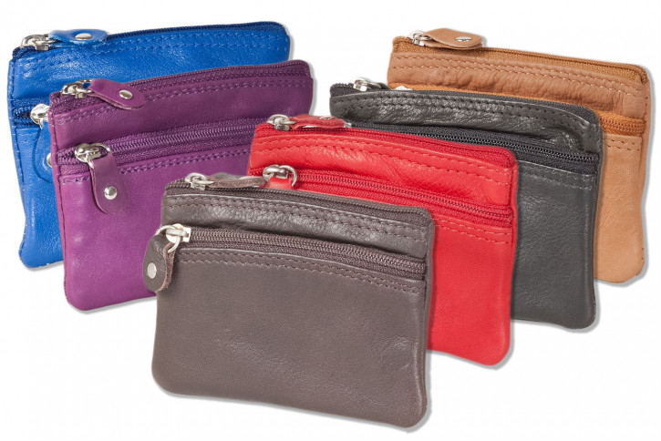 Rimbaldi® - Key bag with large extra compartment for the car key made of soft cow-leather in assorted colors