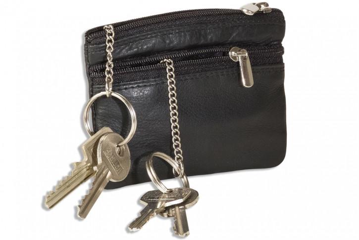 Rimbaldi® Doppel-Schlüsseltasche mit großem Extrafach für den Autoschlüssel aus weichem, naturbelassenem Rindsleder in Schwarz