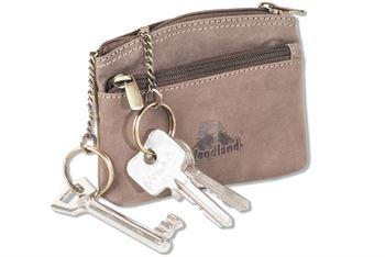 Woodland® Schlüsseltasche mit 2 Schlüsselringe mit Metallketten im großen Hauptfach aus naturbelassenem Büffelleder in Dunkelbraun/Taupe