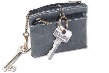 Woodland® Schlüsseltasche mit 2 Schlüsselringe mit Metallketten im großen Hauptfach aus naturbelassenem Büffelleder in Anthrazit
