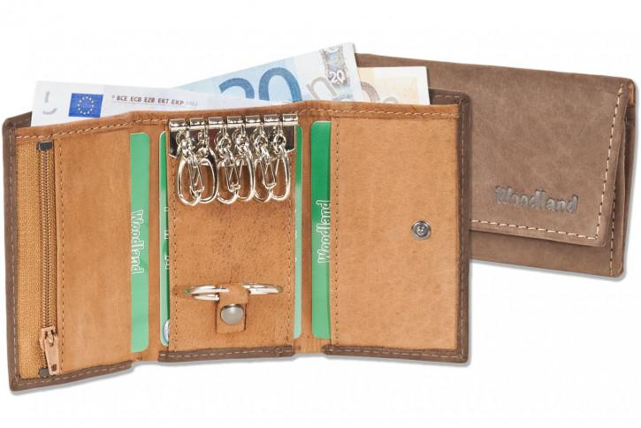 Woodland® Schlüsseltasche mit Geldbörse aus weichem, naturbelassenem Büffelleder in Dunkelbraun/Cognac Kombination