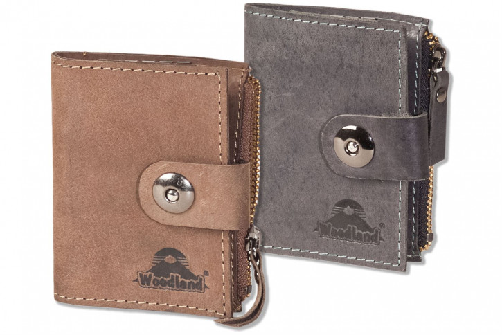 Woodland® Leder-Schlüsseltasche für 4 Schlüssel und kleinem Reißverschluss-Münzfach aus naturbelassenem, geölten Büffelleder