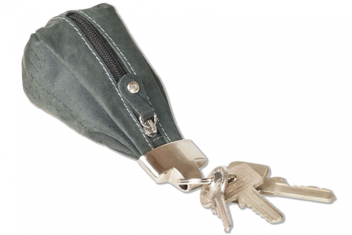 Woodland® Luxus-Schlüsseletui mit Extratasche aus naturbelassenem Büffelleder in Anthrazit