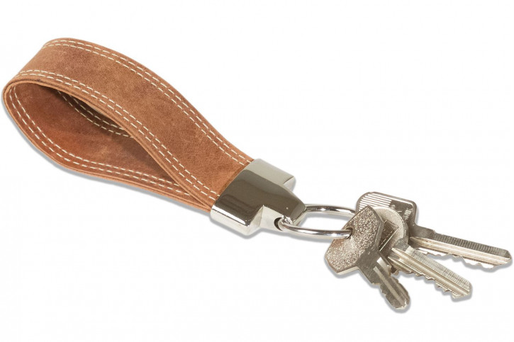 Wild Nature® Luxury Key Case with extra pocket, made from cow nappa leather in cognac/vintage