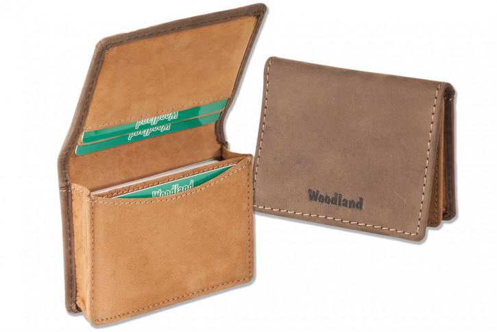 Woodland® Etui für bis zu 22 Kredit-/ oder 44 Visitenkarten aus weichem, naturbelassenem Büffelleder in Dunkelbraun-Cognac Kombination