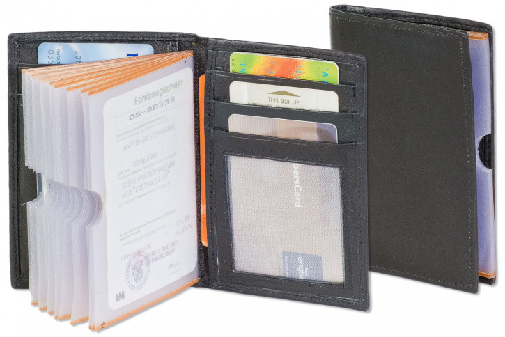 Rinaldo® Large card-universal case with many compartments of cow nappa-leather in black
