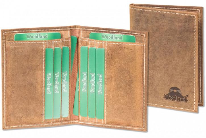 Woodland® Ausweis-/Kreditkartenetui für 6 Kreditkarten und 4 Ausweis-/KFZ-Scheine aus weichem, naturbelassenem Büffelleder in Cognac