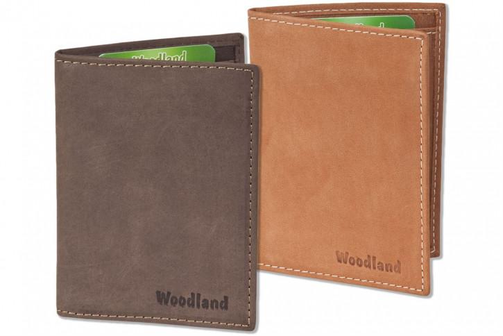 Woodland® Ausweis-/Kreditkartenetui für 6 Kreditkarten und 4 Ausweis-/KFZ-Scheintaschen aus weichem, naturbelassenem Büffelleder